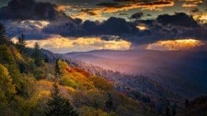 Smoky Mountains at dawn in the fall