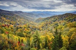 Fall colors covering the Smoky Mountains
