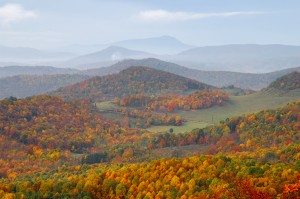 Autum colors covering the Smoky Mountains