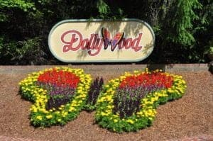 The butterfly flower arrangement at the entrance to the Dollywood theme park in Pigeon Forge.