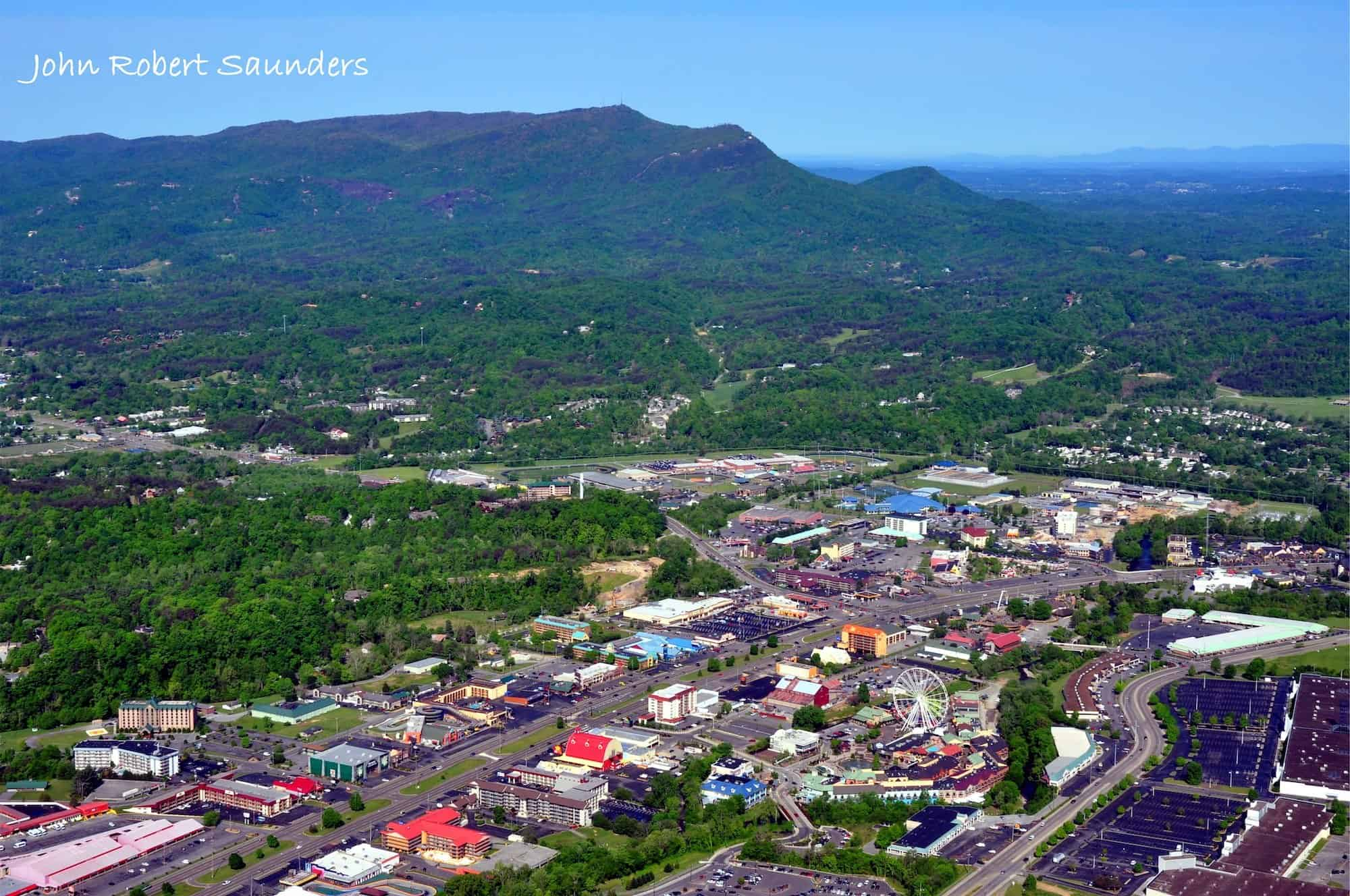 Aerial shot of pigeon forge