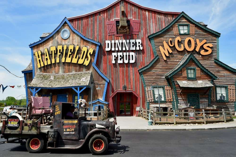 hatfield and mccoy dinner show with the truck out front