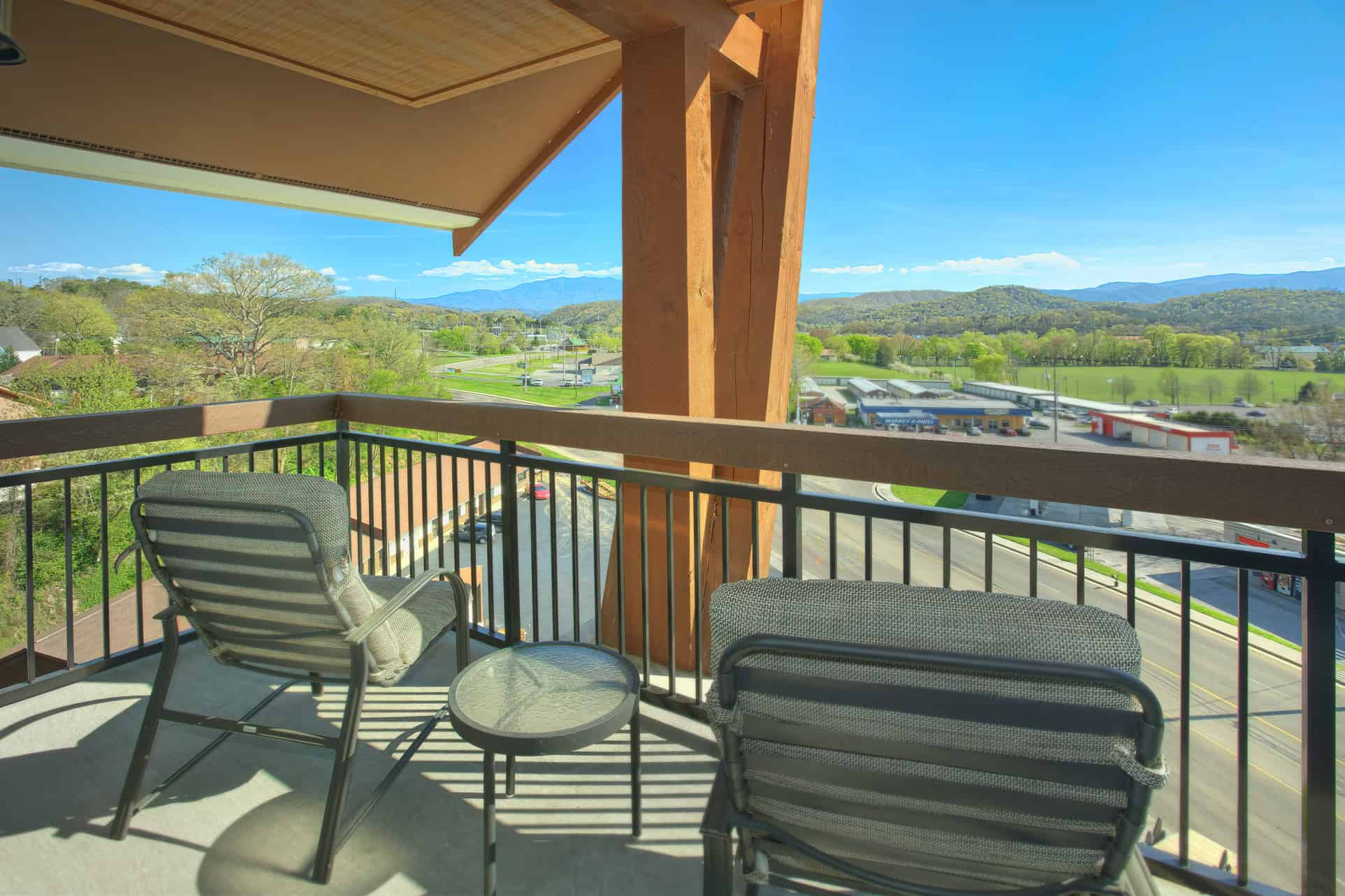 The balcony of a Pigeon Forge condo rental with beautiful views of Mt. LeConte